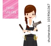 woman hairdresser with hair... | Shutterstock .eps vector #1019061367