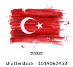 watercolor painting flag of... | Shutterstock .eps vector #1019062453