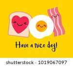 cute breakfast illustration in... | Shutterstock .eps vector #1019067097