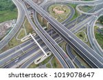 aerial view intersection... | Shutterstock . vector #1019078647