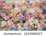 flower wall background | Shutterstock . vector #1019080027