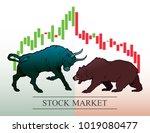 bull and bear  symbols of stock ... | Shutterstock .eps vector #1019080477