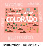 illustrated map of the state of ... | Shutterstock .eps vector #1019091517