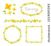 forsythia flowers border frame... | Shutterstock .eps vector #1019095393