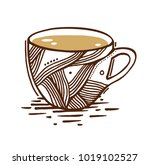 coffee cup on white background. ... | Shutterstock .eps vector #1019102527