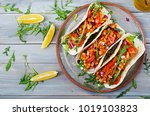 mexican tacos with beef  beans... | Shutterstock . vector #1019103823