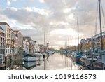 the historic delfshaven harbour ... | Shutterstock . vector #1019116873