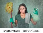 grunge edit portrait of sad and ... | Shutterstock . vector #1019140333
