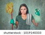 grunge edit portrait of sad and ... | Shutterstock . vector #1019140333