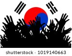 hands up silhouettes on a south ... | Shutterstock . vector #1019140663