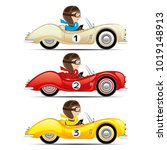 set of retro cars on a white... | Shutterstock .eps vector #1019148913