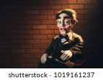 creepy ventriloquist dummy with ... | Shutterstock . vector #1019161237