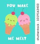 cute ice cream cones couple... | Shutterstock .eps vector #1019163403