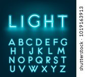 neon light alphabet font.... | Shutterstock .eps vector #1019163913