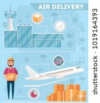 airport logistics and delivery... | Shutterstock .eps vector #1019164393