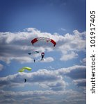 Parachutist at the autumn sky - stock photo