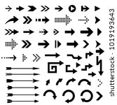 black arrows. collection of... | Shutterstock .eps vector #1019193643