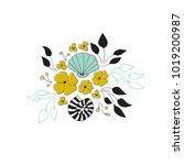 vector sea floral bouquet.... | Shutterstock .eps vector #1019200987