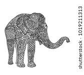 elephant in asian style.... | Shutterstock .eps vector #1019211313