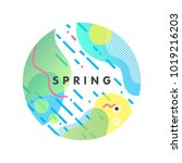 unique artistic spring card... | Shutterstock .eps vector #1019216203