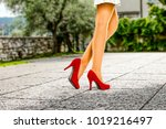 spring time and slim woman legs ... | Shutterstock . vector #1019216497