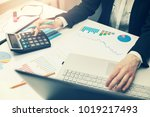 woman working with business... | Shutterstock . vector #1019217493