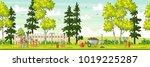 spring landscape with garden... | Shutterstock .eps vector #1019225287