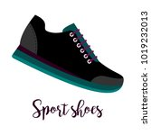 shoes with text sport shoes... | Shutterstock .eps vector #1019232013