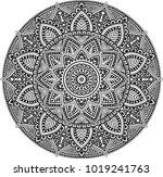 mandala pattern black and white ... | Shutterstock .eps vector #1019241763