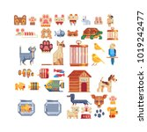 Pets animals set. Cat, dog, aquarium fish, parrot pixel art 80s style icons. Stickers and embroidery design. 8-bit sprite. Logo design for pet shops, mobile applications. Isolated vector illustration. | Shutterstock vector #1019242477