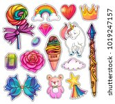 set of magic girlish stickers...   Shutterstock .eps vector #1019247157