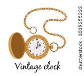 vintage gold hands watch... | Shutterstock .eps vector #1019255233