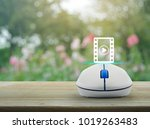 Play Button And Movie Icon Wit...