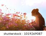 silhouette portrait lady in... | Shutterstock . vector #1019269087