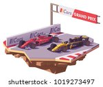 vector low poly racing car in... | Shutterstock .eps vector #1019273497