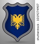 flag of albania. vector badge... | Shutterstock .eps vector #1019274907