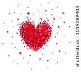 heart of little red hearts on a ...   Shutterstock . vector #1019289403