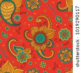 colorful floral pattern in... | Shutterstock .eps vector #1019290117