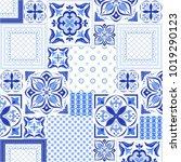 blue ornamental tile background | Shutterstock .eps vector #1019290123