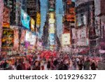 abstract modern painting with... | Shutterstock . vector #1019296327