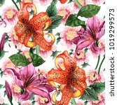 watercolor floral seamless... | Shutterstock . vector #1019299573