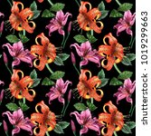 watercolor floral seamless... | Shutterstock . vector #1019299663