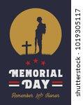 memorial day banner  silhouette ...   Shutterstock .eps vector #1019305117