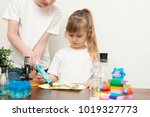 cute little girl with her... | Shutterstock . vector #1019327773