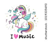 a beautiful unicorn with... | Shutterstock .eps vector #1019335693