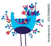 template with spring folk bird... | Shutterstock .eps vector #1019348683