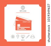 credit card with a chip and... | Shutterstock .eps vector #1019349637
