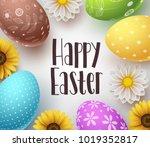 happy easter vector background...   Shutterstock .eps vector #1019352817