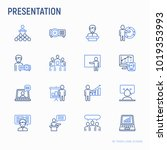 presentation thin line icons... | Shutterstock .eps vector #1019353993