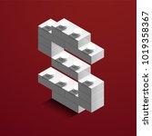 realistic 3d isometric letter s ... | Shutterstock .eps vector #1019358367